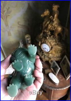 Rare Original Handcarved Chinese Natural Hetian Jade Statue Imperial Lion China