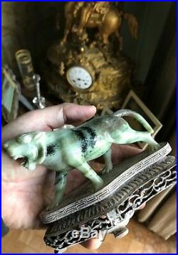 Rare Original Handcarved Chinese Natural Hetian Jade Statue Imperial Tiger China