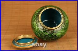 Rare Royal Chinese Old Enamels Cloisonne lucky tea caddy box pot