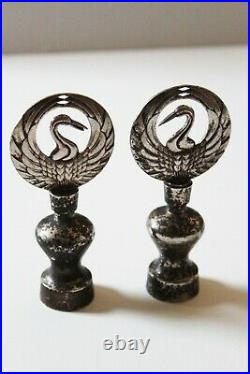 Rare early Imperial Two Cranes Sliver snuff bottles from prominent estate