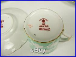 Royal Crown Derby Chinese Birds Celadon Green Demitasse Cups Saucers Set Of 6