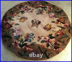 Royal Palace Handmade Rug 39 x 39 Round Butterfly Bliss 100% Wool