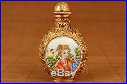 Royal court rare china colour enamels Cloisonne Plating Gold Statue SNUFF BOTTLE