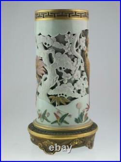 Superb Antique 19th Century Royal Worcester Chinese Flamingo Porcelain Vase 1874
