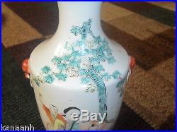 Superb Chinese Famille Rose Jingdezhen Imperial Kiln Figural Scenic Poem Vases