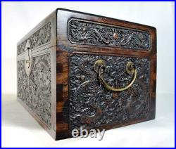 Superb Large Antique Chinese Imperial Carved Dragon Box 19thC