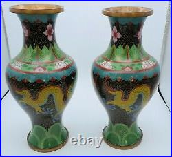 Superb Large Pair Of Chinese Cloisonne Imperial Dragon Vases 9 Tall