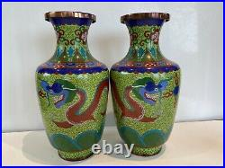 Superb Pair Chinese Cloisonne Vase Imperial Red Dragon On Rare Lime Green Ground