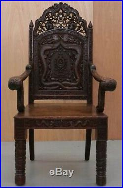 The Queens Own Royal 5th Battalion India Carved Chinese Export Dragon Armchair