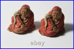 Two early imperial Chinese Dharma mudmen figures from prominent estate