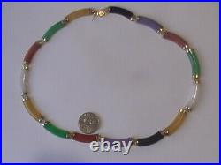 VALENTINE GIFT VTG 14K gold IMPERIAL JADE Rainbow Colors Choker Necklace 16