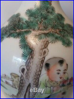 Very Fine Antique Chinese Porcelain Vase Qianlong Mark Imperial 11 Qing Mahjong
