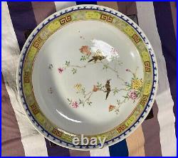 Very rare Antique Chinese Jiaqing Imperial Mark Famille Rose Plate & Stand