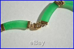Vintage 14K Gold Natural Genuine Imperial Green Jade Jadeite Link Necklace