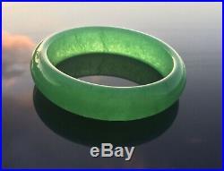 Vintage Antique Imperial Emerald Green Jadeite Transparent Hard Jade Bangle