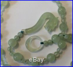 Vintage Carved Mutton Fat Imperial Translucent Jadeite Necklace with Dragon Clasp