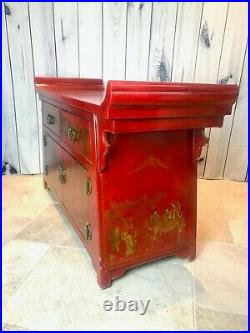 Vintage Chinese Chinoiserie Altar Cabinet or Sideboard in Imperial Red Lacquer
