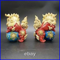 Vintage Chinese Foo Dogs Fu Imperial Guardian Lions 5Hand Painted Porcelain