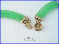 Vintage Chinese Imperial Apple Green Jade Jadite 14k Gold Necklace 16 1/2 In