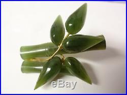 Vintage Elegant Genuine Royal Carved Jade Bamboo Branch Leaves Pin Brooch