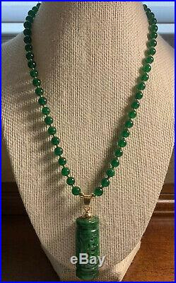 Vintage Hand Carved Imperial Jade Rare Pendant Necklace Rare Estate Chinese Lot
