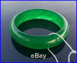 Vintage Icy Imperial Emerald Green Natural Jadeite Jade Bangle
