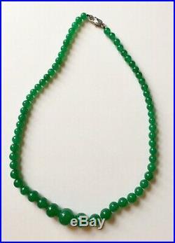 Vintage Imperial Emerald Green Jadeite Necklace 18.5 Natural Transparent Jade