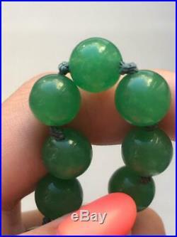 Vintage Imperial Emerald Green Jadeite Necklace 20 Natural Transparent Jade 53G
