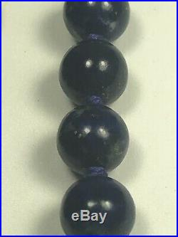 Vintage Imperial Period Chinese Lapis Pearl Beads Necklace Bear Enhancer 22
