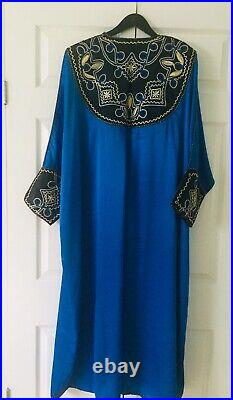 Vintage LARA Royal Blue Silk Long Robe Gold Metallic Thread Embroidery Stitchi