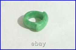 Vintage Natural Genuine Imperial Green Jadeite Jade Saddle Unisex Ring Size 8