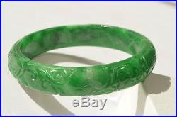 Vintage Natural Imperial Green Jadeite Jade Hand Carved Flower Bangle Bracelet