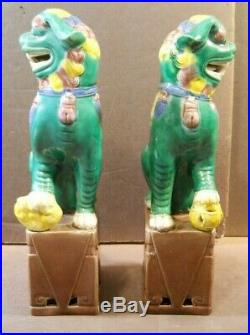 Vintage Pair 8 Chinese Imperial Guardian Lions Foo Dogs Porcelain Green Yellow