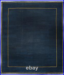 Vintage Royal Navy and Gold Chinese Handwoven Wool and Silk Rug BB3626