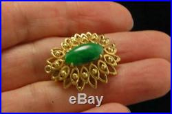 Vintageart Chinese Imperial Green Jadeite Jade 14k Gold Brooch Pendant A022831
