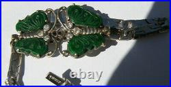Vtg Chinese 18K Green Imperial Jade Jadeite Butterfly Bracelet with Diamond