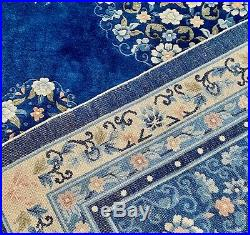 Vtg Chinese Wool Silk Hand Knotted Area Rug 9' x 6' Royal Blue Floral Butterfly