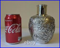 Wang Hing Antique Chinese Export Solid Silver Tea Caddy 340g Royal Chrysanthemum