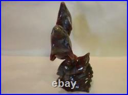 X-Gallery Natural Carved IMPERIAL JASPER GEMSTONE Dolphin Family Figurine Statue